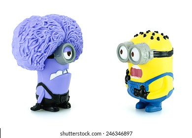 Bangkok,Thailand - October 22, 2015: Minion Tom and Purple Minion characters  from Despicable Me animation movie. There are plastic toy sold as part of the McDonald's Happy meals.