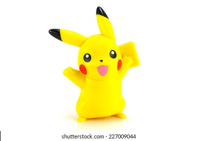 Bangkok,Thailand - October 30, 2014: Pickachu toy character from Pokemon anime. There are toy sold as part of McDonald Happy Meal toy.