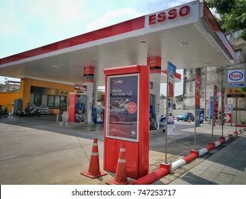 Bangkok,Thailand - October 31 ,2017 : ESSO petrol stationat at prannok road , Bangkok,Thailand
