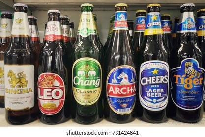 Bangkok,Thailand - October 8 ,2017 : Thai Beer ,Singha ,Leo ,Chang ,Archa ,Cheers ,Tiger on shelf at  maxvalue store , Bangkok,Thailand
