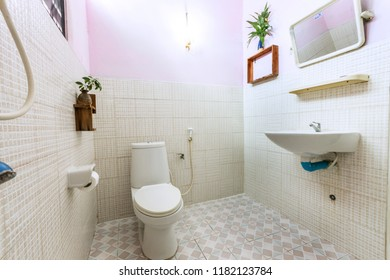 Bangkok/Thailand - Sep 15 2018 : White bathroom in house