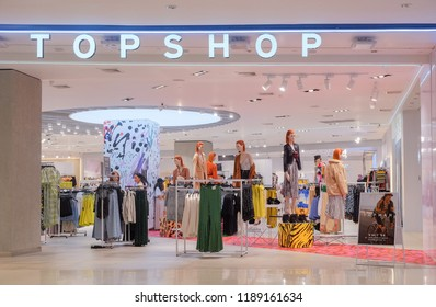 Bangkok-Thailand SEP 24 2018: Interior TOP SHOP store on Central world with customer choose product, TOPSHOP is a global fashion brand from the UK. Open branch in Thailand.