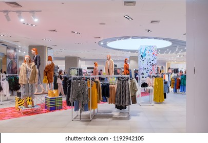 Bangkok-Thailand SEP 24 2018: Interior TOPSHOP store on Central world with customer choose product, TOPSHOP is a global fashion brand from the UK. Open branch in Thailand.