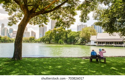 Bangkok,Thailand- September 18,2017 :  Lover in  Lumpini Park, Which is a park biggest in Bangkok ,Thailand