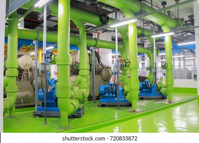 Bangkok,Thailand - September 24,2017: Chiller water pump system water support in building.