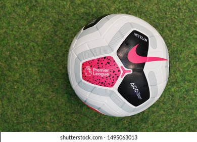 BANGKOK,THAILAND -SEPTEMBER 3: Close-Up on Nike Merlin The Ofiicial English Premier League Match Ball on the Grass on September 3,2019