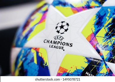 BANGKOK,THAILAND -SEPTEMBER 3: Close-Up on Adidas Uefa Champions League 2019 Match Ball on September 3,2019