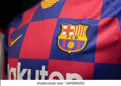 BANGKOK,THAILAND -SEPTEMBER 3: Close-Up on Nike Barcelona Football Jersey on September 3,2019