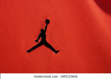 BANGKOK,THAILAND -SEPTEMBER 3: Close-Up on The New Nike Jumpman Air Jordan Logo on Paris Saint German Football Jersey on September 3,2019