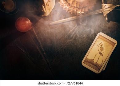 Bangkok,Thailand, September 30 : Illustrative Editorial. View of tarot card on the table under candlelight. The Death. Dark tone, on September 30, 2017, Bangkok, Thailand.