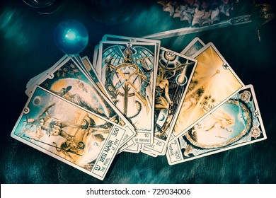 Bangkok,Thailand, September 30 : Illustrative Editorial. View of tarot card on the table under candlelight. Dark tone, on September 30, 2017, Bangkok, Thailand.