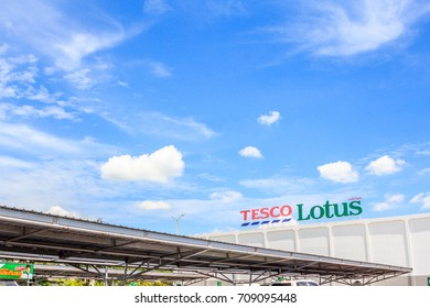 Bangkok,THAILAND- September 6, 2017: Exterior view of Tesco Lotus Supermarket. It is a hypermarket chain in Thailand.