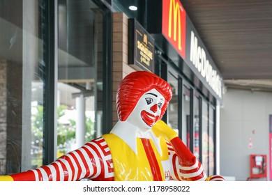BANGKOK,THAILAND - September 6, 2018 :  ronald mcdonald at  McDonald's restaurant