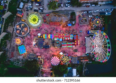 Bangkok,Thailand - september 9,2017: Night Canival in bangkok topview ,aeriel view drone