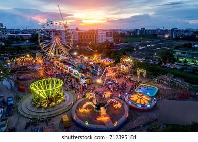 Bangkok,Thailand - september 9,2017: Night Canival in bangkok topview ,aeriel view drone