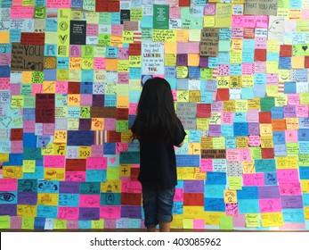 Bangkok,Thailand.1 April 2016 lot of idea note on wall Bangkok,Thailand