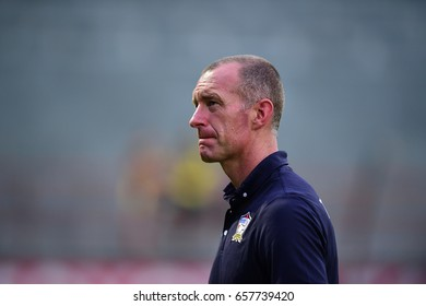 BANGKOK-THAILAND-10june,2017:Spencer prior head coach of thailand in action during friendly match fifa day between woman thailand national team and chainese taipe at PAT Stadium,Thailand