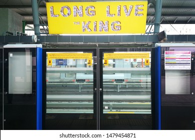 BANGKOK,THAILAND-11 AUG 2019: Platform screen doors at MRT Tha Phra station in bangkok,Thailand