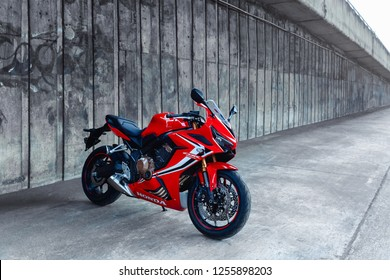 Bangkok,Thailand-11 December 2018 : 2018: Honda CBR650R new model 2019 sport big bike