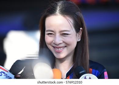 BANGKOK-THAILAND-11FEB,2017:Naunpan lamsam president of port fc in action during grand opening club at PAT Stadium,Thailand