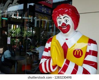 BANGKOK,THAILAND-12 JANUARY 2019:Closeup of Ronald-Mcdonald in front of McDonald's restaurant at The Nine Center Rama 9.