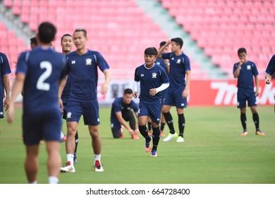 BANGKOK-THAILAND-12june,2017:Nurul sriyankem Player of thailand in action during training before match world cup qualifier between thailand and UAE at Rajamankala Stadium,Thailand