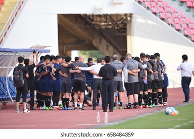 BANGKOK-THAILAND-12june,2017:Player of thailand in action during training before match world cup qualifier between thailand and UAE at Rajamankala Stadium,Thailand