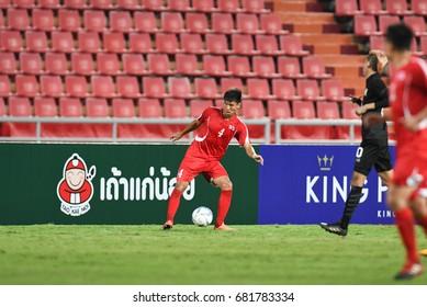 BANGKOK-THAILAND-14jul,2017:Pak myong song[r] player of DPR korea in action during king cup tournament 2017 between thailand and dpr korea at Rajamankala Stadium,Thailand