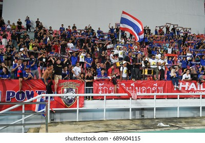 BANGKOK-THAILAND-14jul,2017:Unidentified supporter of thailand in action during king cup tournament 2017 between thailand and dpr korea at Rajamankala Stadium,Thailand