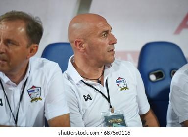 BANGKOK-THAILAND-14jul,2017:Zoran jankovic assistant coach of thailand in action during king cup tournament 2017 between thailand and dpr korea at Rajamankala Stadium,Thailand