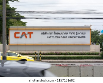 BANGKOK,THAILAND-15 AUGUST 2018:  ์์Name Tag CAT Telecom Public Company Limited on, 15 AUGUST 2018 in Thailand.