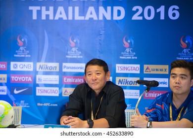 BANGKOK-THAILAND-15JUL2016:Chen Kuei-jen manager of Taipower fc futsal club during press conference AFC futsal club 2016 after match Sanna khanh hoa fc and Taipower fc at bangkok arena,thailand