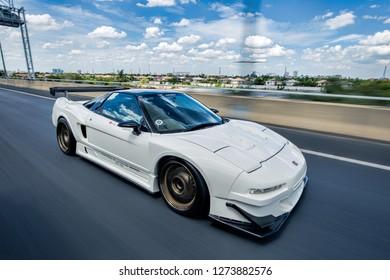 Bangkok,Thailand-16 May 2017 : White Honda NSX rolling on the highway