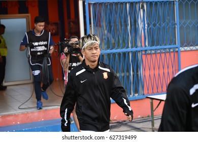 BANGKOK-THAILAND-19APR,2017:Jakkapan pornsai Player of bg in action during Thaileague competition between port fc and bangkokglass at PAT Stadium,Thailand