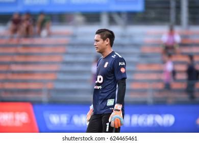 BANGKOK-THAILAND-19APR,2017:Narit taweekul Player of bg in action during Thaileague competition between port fc and bangkokglass at PAT Stadium,Thailand