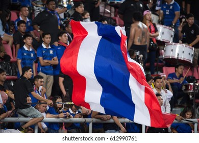 BANGKOK-THAILAND-23MAR,2017:flag thailand and unidentified fans of Thailand supporters during world cup qualifier between thailand and saudi arabia at rajamankala Stadium,Thailand