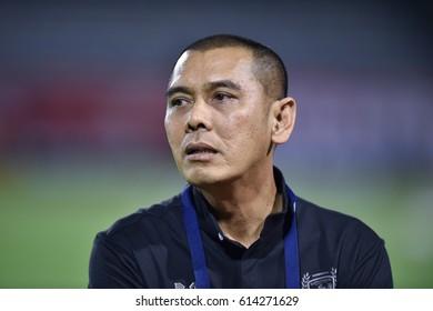 BANGKOK-THAILAND-23MAR,2017:Kringkrai wuttipanich manager of suphanburi fc in action during competition Thaileague between bec tero and suphanburi fc at boonyajinda Stadium,Thailand