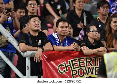 BANGKOK-THAILAND-23MAR,2017:Unidentified fans of Thailand supporters during world cup qualifier between thailand and saudi arabia at rajamankala Stadium,Thailand