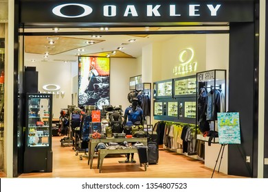 BANGKOK,THAILAND-25 MARCH 2019:  The Oakley store in the ICON SIAM shopping mall. Oakley currently holds more than 600 patents for eyewear, materials, and performance gear.