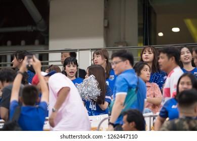 Bangkok-Thailand-25NOV2018:BNK48 girl group artist in action during AFF suzuki cup 2018 Thailand against Singapore at national stadium,thailand