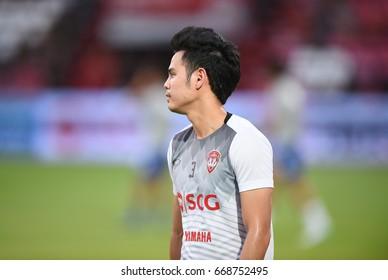 BANGKOK-THAILAND-28jun,2017:Theerathon boonmatan Player of SCG muangthong in action during thaileague competition between MTUTD and chonburi fc at SCG Stadium,Thailand