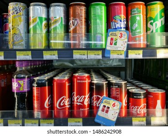 BANGKOK,THAILAND-29 JULY 2019:Variety of soda on the shelves for sale at 7-Eleven shop.