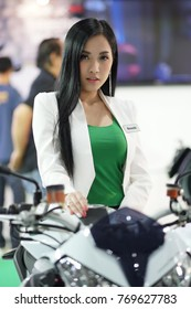 Bangkok-Thailand-3 December 2017: Pretty girl at Motor Show Muangthong 2017 - The biggest motor show in Thailand