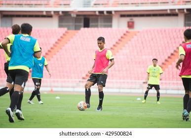 BANGKOK-THAILAND-30MAY,2016:mongkol tossakrai player of thailand national team in action during training at rajamangkala Stadium in bangkok Thailand on 30 may 2016