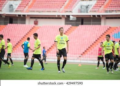 BANGKOK-THAILAND-30MAY,2016:Sanrawat dechmitr player of thailand national team in action during training at rajamangkala Stadium in bangkok Thailand on 30 may 2016
