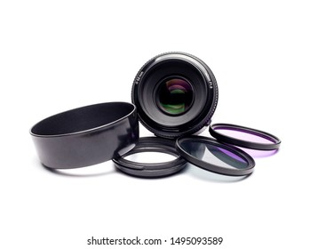 Bangkok,Thailand-4September,2019:Yongnuo fix 50mm lens And optical filters with white background