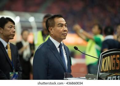 BANGKOK-THAILAND-5JUN,2016:Somyot Phumphanmuang president of football Association of Thailand in action match King cup between Thailand and Jordan at rajamangkala Stadium in Thailand on 5 june 2016