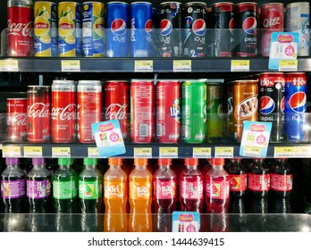 BANGKOK,THAILAND-6 JULY 2019:Variety of soda on the shelves for sale at 7-Eleven shop.