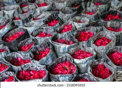 Bangkok,thailand,6,Feb,2016,Colorful roses wrapped and displayed for sales in Pak Klong talad market Bangkok Thailand