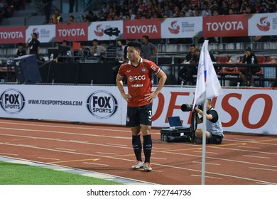 Bangkok-Thailand-6jan2018:Theerathon boonmatan player of scg muangthong in action during Toyota Mekong club 2017 between scg muangthong against sanna khanh hoa BVN fc at Supachalasai stadium